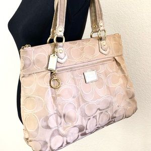 COACH tan, pink large tote w metallic highlights